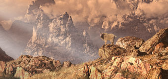Mountain Goat In The Rocky Mountains. Mountain goat in a Rocky Mountain landscape stock illustration