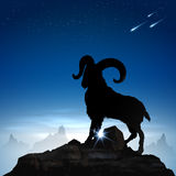 Mountain goat. Silhouette mountain goat with blue sky background Royalty Free Stock Photos