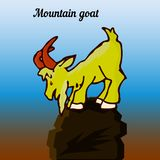 Mountain goat on top, looking down, cartoon character, nature background