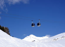 Mountain gondola cable car with blu sky Stock Photo