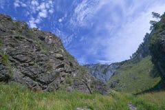 Mountain gorge Valley of Mountain Spirits. Natural landmark in Altai region - rocks in mountain gorge Che-Chkysh Valley of Mountain Spirits Stock Image