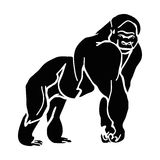 Mountain gorilla silhouette. Black silhouette of a big monkey, gorilla abstract Stock Photography