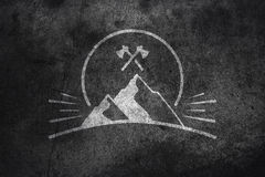 Mountain graphic on concrete Royalty Free Stock Photos