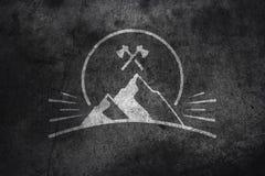 Mountain graphic on concrete. Dark concrete texture with mountain graphic Royalty Free Stock Photos