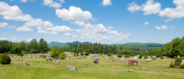 Mountain Graveyard. A Graveyard in the Country Surrounded by Mountains vector illustration
