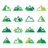 Mountain  green icons set Royalty Free Stock Photo