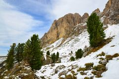 Mountain group Sassolungo Langkofel. South Tyrol, Italy. stock photo