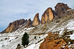 Mountain group Sassolungo Langkofel.South Tyrol, Italy. royalty free stock image