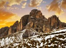 Mountain group Sassolungo Langkofel at sunset, South Tyrol, Italy. royalty free stock image