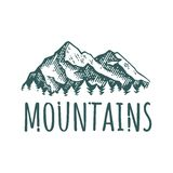 Mountain hand drawn retro logotype with lettering. Vector vintage engraved illustration.  on white background. For outdoor company, camping, adventure poster Stock Photo
