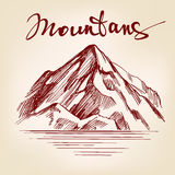 Mountain hand drawn vector llustration sketch Royalty Free Stock Images