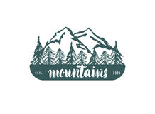 Mountain hand hrawn hogo. Vector design element in vintage style for logotype, label,tag, badge and other. Mountain logo, symbol, Royalty Free Stock Image