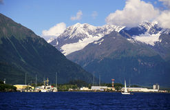 Mountain harbour. In the bay Royalty Free Stock Photos