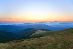 Mountain hazy daybreak Stock Photos