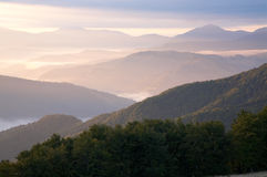 Mountain hazy daybreak Stock Photo