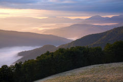 Mountain hazy daybreak Royalty Free Stock Image
