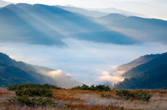Mountain hazy daybreak Stock Image