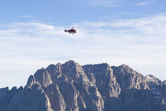Mountain with a Helicopter Royalty Free Stock Photography