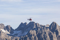 Mountain with a Helicopter Stock Photography
