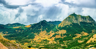 Mountain highest peaks. Panoramic view of the highest peaks of the Lovcen mountain national park in southwestern Montenegro royalty free stock images