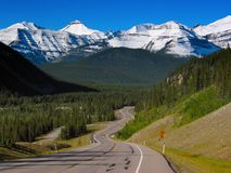 Mountain Highway. A paved highway extends through a mountain park royalty free stock image