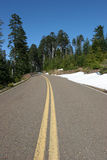 Mountain Highway. Road through the hills with snow and trees under blue sky Royalty Free Stock Photo