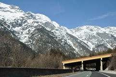 Mountain highway in the austrian Alps Royalty Free Stock Images