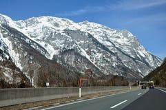 Mountain highway in the austrian Alps Stock Photos