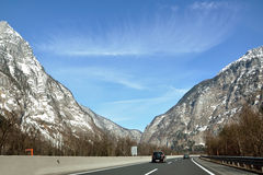 Mountain highway in the austrian Alps Stock Images