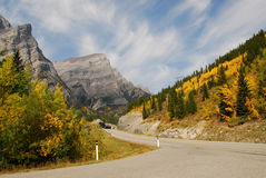 Mountain and highway in fall Stock Image