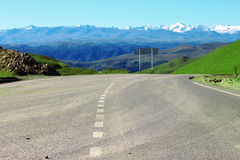 Mountain highway and landscape. North Caucasus travel. Royalty Free Stock Image