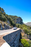 Mountain highway on Mallorca with car Royalty Free Stock Images