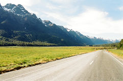Mountain Highway, New Zealand. The road from Te Anau to Milford running in parallel to the south island Alps of New Zealand royalty free stock photo