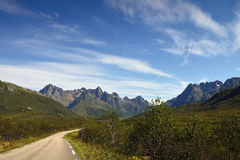 Mountain highway. In nord of norway royalty free stock photos
