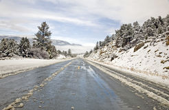 Mountain Highway in Winter Stock Photos