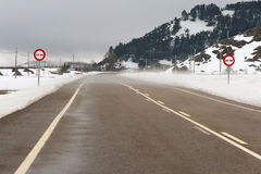 Mountain Highway in Winter. Mountain road in snow and blowing snow landscape with road signs, before a bend, overtaking prohibited from, pine, power lines and Royalty Free Stock Photos