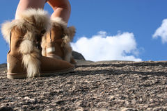 Mountain hike with boots Stock Photos
