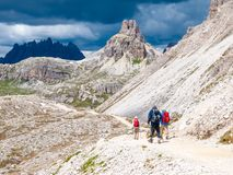 Mountain hikers with trekking poles walks on the rocky path in the mountains. Nordic walking theme.  stock image