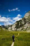 Mountain hiking. In the Julian Alps, Slovenia Royalty Free Stock Image