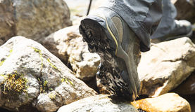 Mountain Hiking Boots Closeup,Outdoor Creek Hiking Stock Photos