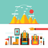 Mountain hiking and climbing Camping Travel Recreation Sport design elements. Vector illustration Royalty Free Stock Image