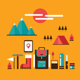 Mountain hiking and climbing Camping Travel Recreation Sport design elements. Vector illustration Stock Images