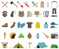 Mountain hiking and climbing vector icon set. No transparency. No gradients Royalty Free Stock Photos