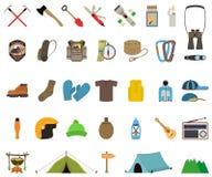 Mountain hiking and climbing vector icon set Royalty Free Stock Photos