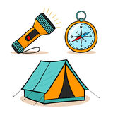 Mountain hiking. Equipment icons set illustration royalty free illustration