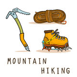 Mountain hiking. Equipment icons set vector illustration royalty free illustration