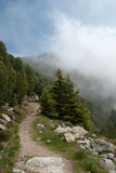 Mountain hiking in fog Royalty Free Stock Photography