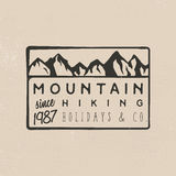 Mountain hiking logotypes in retro style vintage. Mountain hiking logotypes in retro style. Vintage badges on adventure journey theme Stock Photo
