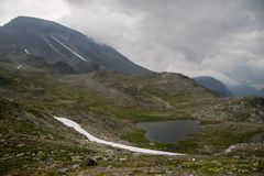 Mountain hiking in Norway. Europe summer travel in mountains and lakes of Scandinavia Stock Photo