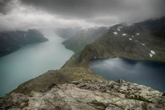 Mountain hiking in Norway. Europe summer travel in mountains and lakes of Scandinavia Royalty Free Stock Image